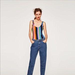 Zara Multicolored Stripped tank T-Shirt Body Suit
